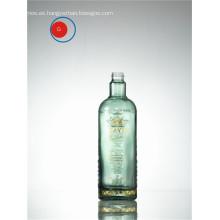 Impresión de botella de vidrio de alto hombro y calcomanía dorada