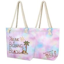 Moda colorido eco amigável barato durável saco de lona de praia