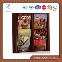 2 Tiered 4 Pocket Wall Mounted Wood Literature Holder