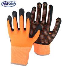 NMSAFETY meilleurs gants de travail de construction en nitrile et points noirs