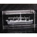 Cube de cristal gravé avec bateau laser 3d