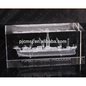 Engraved crystal cube with 3d laser boat