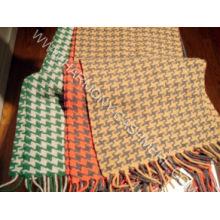 100% Kaschmir gewebter Schal mit Hahnentrittmuster