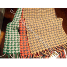 100%Cashmere Woven Scarf with Houndstooth