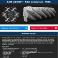 Elevator/Excavator/Fishing/Hoist/crane/Drilling compacted wire rope 6*19FKWRC