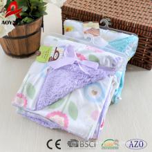 cara impresa micromink lindo trasero sólido sherpa tejido manta de bebé