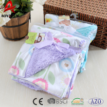 face printed micromink cute back solid sherpa knitted baby blanket