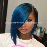 Fast delivery ombre blue human hair short bob side part lace front wig