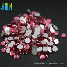 Le meilleur vente à la mode strass non plat chaud de dos plat de couleur de style de rose pour la décoration, couleur rose de MS131