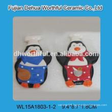 Ceramic souvenir Penguin chef fridge magnet