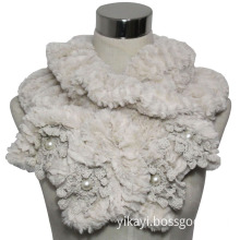 Fashion Faux Fur Scarf with Pearl and Lace Decoration