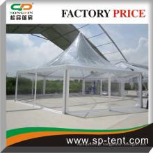 Tissu en PVC transparent extérieur en toit en aluminium Tissu en PVC Tente en hexagone Tente de pagode Tente Tente Tente Gazebo Tente