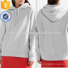 Haut gris à capuche en coton surdimensionné Top OEM / ODM Fabrication Vêtements en gros de mode femmes (TA7026H)