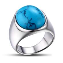 Anel polido anel de turquesa Jóias de aço inoxidável