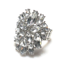 Sweet And Elegant Round Ring Metal Stretch Ring full of clear rhinestones Wholesale and Retail