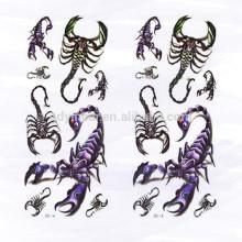 2017 mais recente projeto Carzy 3D Cool Scorpion etiqueta do tatuagem do corpo para o homem