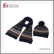 2015 niño Jacquard sombrero de acrílico y traje de bufanda (SNLC04)