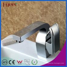 Robinet de mélangeur d'eau chaude et froide de salle de bains de chrome de poignée montée par plate-forme de Fyeer