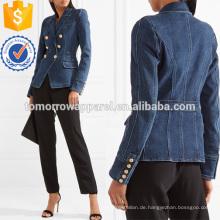 Zweireiher Denim Blazer Herstellung Großhandel Mode Frauen Bekleidung (TA3031C)