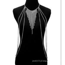 Moda ouro / prata Cadeias colar Punk Rock Body Cadeia para as mulheres