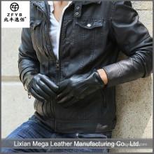 Guantes de cuero negro de la patente de la alta calidad del surtidor de China