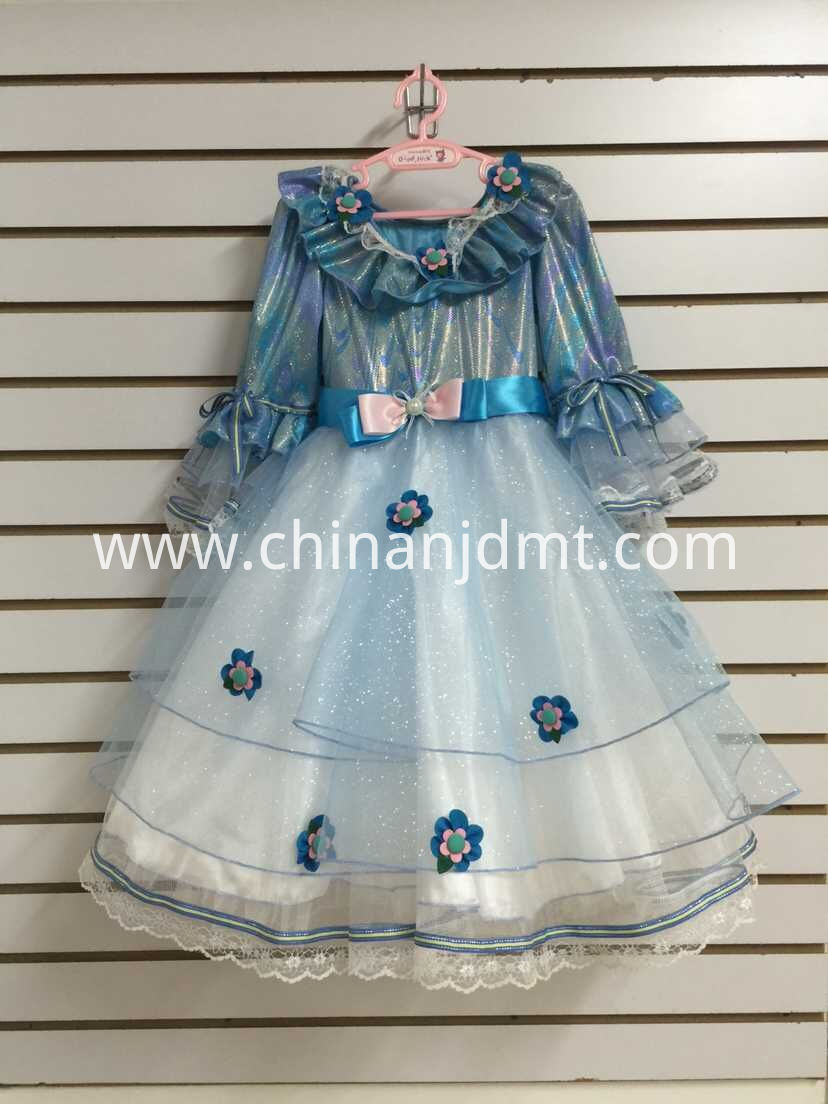 blue sleeve party dress
