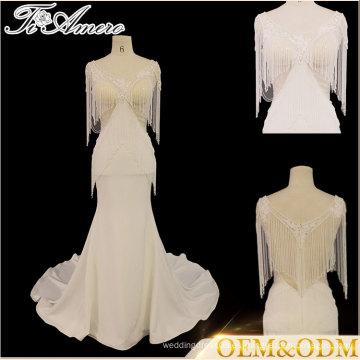 Tiamero rebordear el vestido de boda decente de la dama de honor de la tela de organza decente del cordón del decote redondo de la dama de honor
