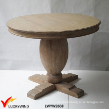 Wood Pedestal Brown Table