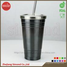 Taza de vacío de acero inoxidable de 500 ml con paja de metal