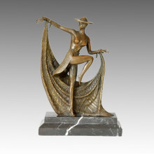 Dancer Figure Bronze Sculpture Lady Decor Brass Statue TPE-172