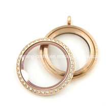 Custom 30mm Rose Gold Round Memory Screw Glass Locket