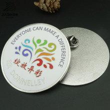 Изготовленным На Заказ Печатанием Логоса Выдвиженческий Круглый Pin Отворотом Металла, Значок Кнопки