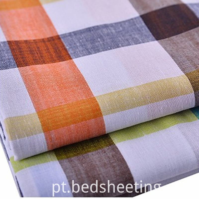 Linencotton Yarn Dyed Bunchy Yarn Check Fabric