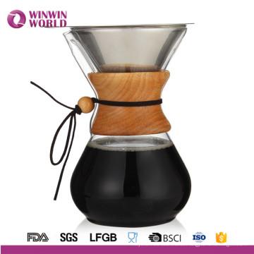 Gießen Sie über Kaffeemaschine mit Borosilicat Grass Carafe und wiederverwendbaren Edelstahlfilter
