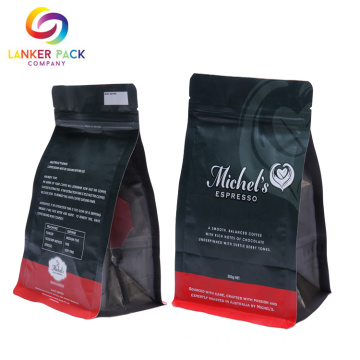 Custom Reusable Auluminum Foil Coffee Bag Plattbotten