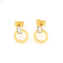 Brincos novos do laço do ouro do aço inoxidável do projeto, brincos do círculo do ouro para a jóia das mulheres