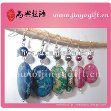 Mão Shangdian trabalhada Brincos de pedra Druzy coloridos