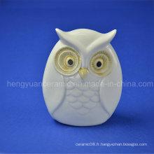 Cadeaux en céramique Lovely Owl White Glazed Home Decoration