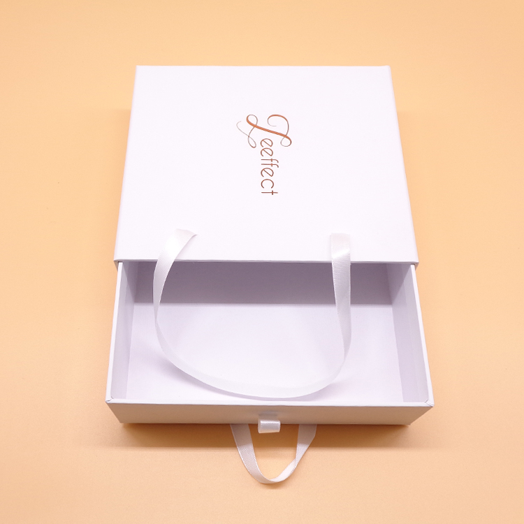 Paperboard Sliding Gift Box With Ribbon Handle