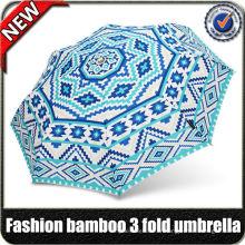 Coupon de 60 $! En gros haute qualité ensoleillé design personnalisé décoration bambou poignée dames 3 pli mode parapluie