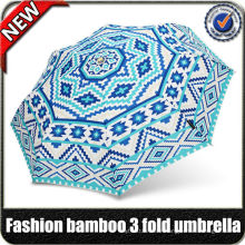 $60 Coupon ! wholesale High quality sunny custom design decoration bamboo handle ladies 3 fold fashion umbrella