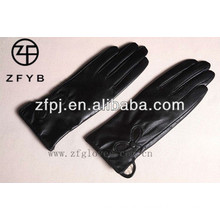 ZF2333 Black embroidery sheepskin top glove for ladies