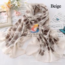 Novo poliéster rendas floral protetor solar cachecóis macios xale cabo pescoço envolto estola lenço flor inverno quentes 5 cores mulheres acessórios
