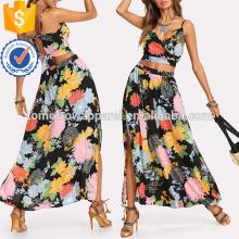 Crop Floral Wrap Cami & Skirt Manufacture Wholesale Fashion Women Apparel (TA4003SS)