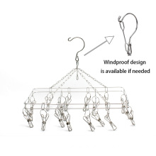 KINDOME Amazon Hot Sales Laundry Hanger Stainless Steel Folding Hanging Drying Rack with 20 Clothes Pins