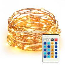 unsichtbare 33ft 100 LED-Fee-Schnur-Lichter mit Fernbedienung Dimmable führte kupferne Drahtschnur beleuchtet Seil-Lichter