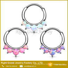 Wholesale Fashion Prong Set Opal Stainless Steel Septum Clicker Nose Ring