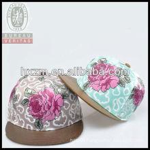 the peony 100% cotton fabric adjustable flat leather brim snapback hat&cap