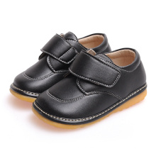 Solid Black Baby Boy Toddler Shoes Chaussures souples en cuir véritable