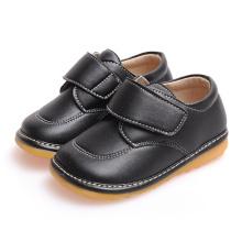 Твердая черная детская обувь для малышей Мягкая неподдельная кожаная обувь